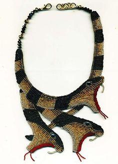 Snake NecklaceBlack&Gold Beaded