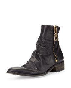 Richards Leather Zip Boot, Black by John Varvatos at Neiman Marcus.