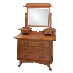 Scottish Art Nouveau Chest With Pagoda Style Dressing Mirror | From a unique collection of antique and modern commodes and chests of drawers at https://www.1stdibs.com/furniture/storage-case-pieces/commodes-chests-of-drawers/