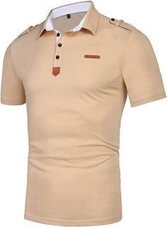 Daupanzees Men's Polo Shirt Classic Casual Short Sleeve Slim Fit Funny Patchwork T-Shirt Solid Collar Camisas Hombre Jersey Polos with Pocket (Beige S) Mens Polo T Shirts, Tee Shirts, Polo Shirt Design, Africa Dress, Fashion Mode, Mens Big And Tall, Basic Tops, Plus Size Blouses, Shirt Designs