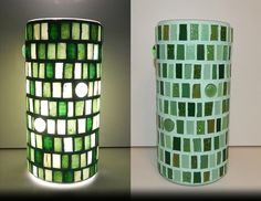 GREEN EUPHORIA MOSAIC LAMP;  made of: glass mosaic; width: 11cm, height: 22cm; price: 61 EUR / 49 GBP / 69 USD;  © Gabor Abraham mosaic art