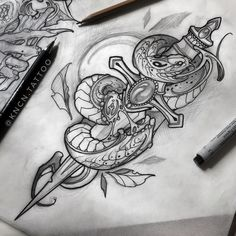 - Neo-traditional snake tattoo design by Karen Puopolo-Curran. Snake And Dagger Tattoo, Tattoo Snake, Arm Tattoo, Sleeve Tattoos, Traditional Snake Tattoo, Traditional Tattoo Design, Neo Traditional, Finger Tattoos, Body Art Tattoos