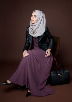 INAYAH Hijabista | Hashtag Hijab Love the colors, textures, and how they paired an edgy leather jacket with a slouchy long loose dress to look polished and modern and yet perfectly modest!