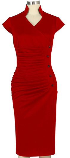 Retro Ruched Side button Wiggle dress Chic Star Design by Amber Middaugh and Guylian K
