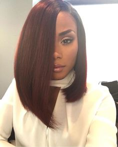 """Babe 14"""" Brazilian Straight Hair Extension Ombre Burgundy Color Sew in Hairstyle for Black Women, Pack of 3"""