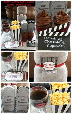 These Scary Movie Date Night ideas are complete with fun printables for a cute date night with your spouse or customize it for a tween slumber party. Kids Movie Party, Movie Night Party, Family Movie Night, Movie Nights, Family Movies, Halloween Date, Halloween Movie Night, Holidays Halloween, Halloween Stuff