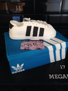 #Adidas Superstar #Trainer #Cake entirely edible, entirely handmade, from #Mrs B's Bespoke Cakes kitchen, Saltaire, England 2015  https://mrs-bs.co.uk/ https://www.facebook.com/mrsbcakeologist/