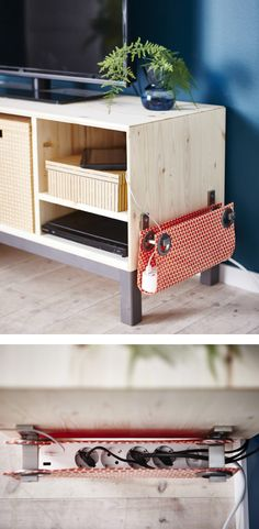 Tidy up your work station or home entertainment area by making a fabric pouch to hide your powerboard Home Entertainment, Diy Casa, Ideas Hogar, Tidy Up, Home Hacks, Home Organization, Home Projects, Diy Furniture, Diy Home Decor