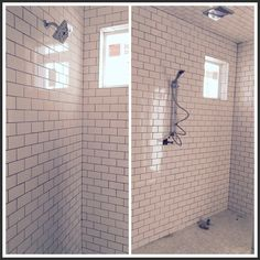master bath shower progress by FiRefinish White subway tile dark grey grout Huge shower no glass shower