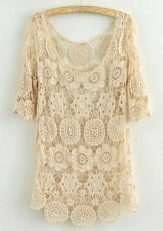 Ivory S - Boho Crochet Sweater Cover-up Lace Top $34