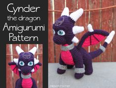Crochet Pattern: Cynder the Dragon (from Spyro) Inspired Amigurumi PDF Instant Download