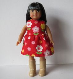 American Girl Mini Doll 6 1/2 Inch Doll Red Floral Dress. $7.00, via Etsy.