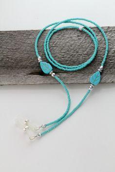Turquoise Eyeglass Chain, Turquoise Lanyard, Eyeglass Necklace, Eyeglass Chain…