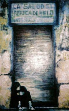 Carmen Moreno, DIE EISFABRIK MADRID, Öl auf Leinen, 190 x 120 cm
