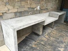 thick outdoor BBQ bench with waterfall legs all done and polished for kings_landscaping__geelong Modern Outdoor Kitchen, Outdoor Kitchen Bars, Backyard Kitchen, Outdoor Kitchens, Outdoor Rooms, Outdoor Barbeque, Concrete Kitchen, Concrete Patio, Bbq Area