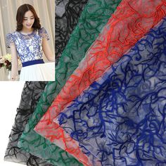 Fashion Net Embroidery Lace Fabrics Wedding Dress Fabric Embroidery Clothing Accessories African Tulle Lace Fabric Organza Lace #Affiliate