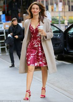 Emmy Rossum steps out in floral frock and chic coat for TV appearance in New York | Daily Mail Online