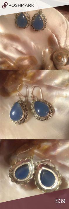 """BLUE CHALCEDONY & Silver VTG Style Wire Earrings Gorgeous NWOT BLUE CHALCEDONY 925 Sterling Silver vintage-style teardrop wire earrings. Measure 1-3/4"""" each! Lovely! Jewelry Earrings"""
