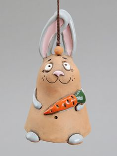 Ceramic Rabbit Bell The Rabbit with a carrot Kids toy by Molinukas, €6.00
