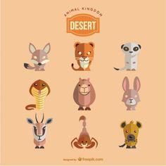 Les animaux du désert fixés Vecteur gratuit