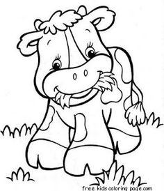 Printable Farmer A Happy Cow Babay Coloring Page