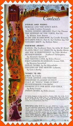 Vintage Golden Magazine Contents Page, October 1967.