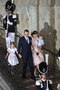 Perfectly co-ordinated: Crown Princess Victoria, her husband and children all made a special effort