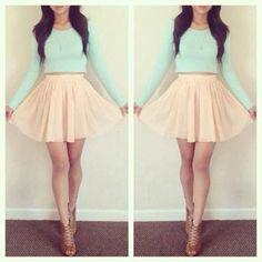Mint long sleeve shirt with coral high-waist skirt