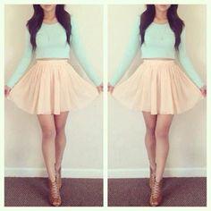 Mint long sleeve shirt with coral high-waist skirt