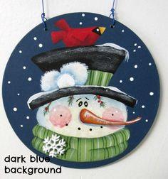 Red Cardinal and Folk Art Snowman, Round Wood Ornament, Red Cardinal, Hand…:
