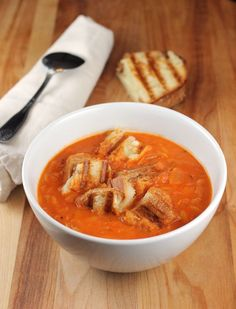 Ina Garten's fabulous (and super easy) tomato soup with cute little grilled cheese croutons.