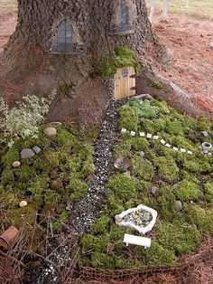 Natural setting for a fairy garden kathyquiltart