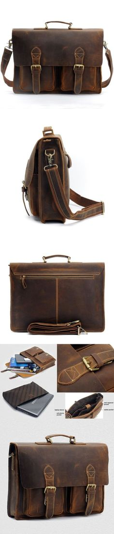 HANDCRAFTED TOP GRAIN GENUINE LEATHER LAPTOP BRIEFCASE BUSINESS HANDBAG MEN MESSENGER BAG