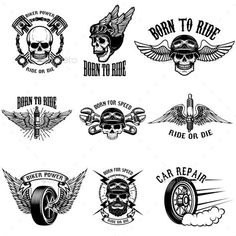 Buy Set of Biker Emblems on White Background. Set of biker emblems on white background. Racers skulls with wings. Car Tattoos, Biker Tattoos, Motorcycle Tattoos, Motorcycle Art, Motocross Tattoo, Motocross Riders, Desenhos Old School, Harley Tattoos, Car Drawings