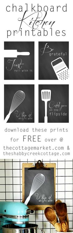 A set of four fun printables of free kitchen art. Print at home or send to be printed at an office store - cheap art that's easy to install!