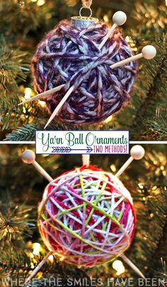 This would be perfect for any knitter (or crocheter)!  An easy Christmas gift idea too!  How to Make a Yarn Ball Ornament: Two Methods! | Where The Smiles Have Been