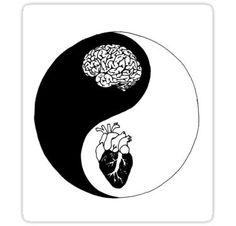 'Yin Yang/Heart and Mind' Sticker by Brynnen-Smiles Yin Yang Tattoos, Tatuajes Yin Yang, Arte Yin Yang, Yin Yang Art, Yin And Yang, Unique Tattoos, Small Tattoos, Drawings Pinterest, Stippling Art