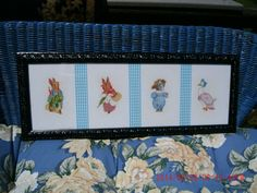 Vintage Antique Framed Cross Stitch Nursery Rhyme by thebedpost02