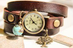 Woman Bracelet Watch Wrap Watch bronze wrist watch by RafFinesse Antique Watches, Vintage Watches, Beaded Watches, Wire Wrapped Bracelet, Real Leather, Bracelet Watch, Dandelion, Vintage Jewelry, Bronze