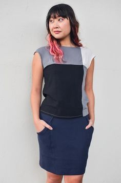 Color block boxy top made with remnant rayon. People who work on this product: Phary, Hy, Navy Modeled by: Maria Model height: 165 cm Boxy Top, Fair Trade Fashion, Color Blocking, Colour Block, Ethical Fashion, Grey And White, Black Tops, Peplum Dress, My Style