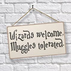 Wizards Welcome, Muggles Tolerated Harry Potter inspired hanging sign