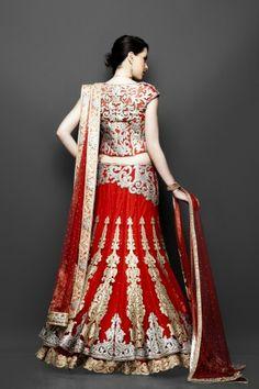 Red double layered bridal lehnga