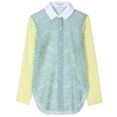 Carven SS12 Lace Blouse With Silk Sleeves