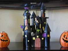october crafts for kids Image detail for -Home, Made: Spoooooooky Castle Kids Craft! Halloween Crafts For Kids, Fall Halloween, Holiday Crafts, Fall Crafts, Halloween Decorations, Paper Towel Crafts, Toilet Paper Roll Crafts, Haunted House For Kids, Diy Ghost Decoration