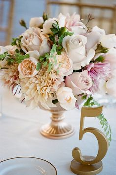 Blush Pink Centerpiece | Table Numbers | See the wedding on  http://www.StyleMePretty.com/2013/06/14/thomas-fogarty-winery-wedding-from-erin-hearts-court/ Photography: Erin Hearts Court
