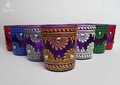 Henna Candle Purple Glass Candle Holder Halloween Decor