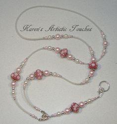 Pink White Swarovski Pearl Polka Dot Glass by ArtisticTouches, $26.00