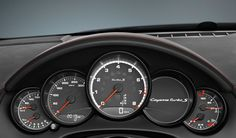 The instrument cluster with high-resolution 4.8-inch TFT color display of the new Cayenne Turbo S shows map data from the navigation system, information from the on-board computer and the Tire Pressure Monitoring (TPM), as well as the car's lateral and longitudinal acceleration. Learn more: http://www.porsche.com/microsite/cayenne-turbo-s/  *Combined fuel consumption in accordance with EU 5: 11.5 l/100km, CO2 emission: 270 g/km