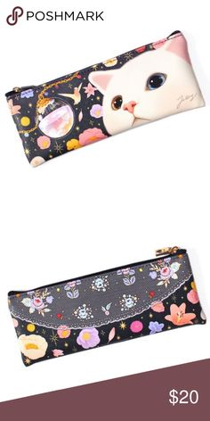 Choo Choo Night Pencil Case Cute pencil case by Jetoy.  Animal-friendly vegan leather Cat-shaped zipper pull for attaching charms Delivered in a pretty clear plastic box perfect for gift-giving Dimensions: 3.1 x 7.7 in. Jetoy Bags Cosmetic Bags & Cases