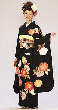 【振袖レンタル】黒地に趣きのある桜紋。 大人の可愛さ出してます☆結婚式、結納などにもどうぞ♪